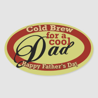Father's Day Beverage or Beer Bottle Label Oval Sticker