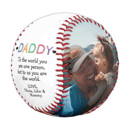 Fathers DayBirthday From Kids to Dad Photo Baseball