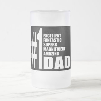Fathers Day Birthdays Christmas Number One Dad 16 Oz Frosted Glass Beer Mug