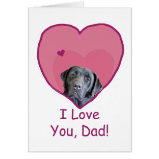 Father's Day Black Lab in Heart Loves Dad Greeting Card