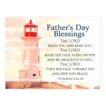 Father's Day Blessings, Numbers 6:24 Lighthouse Postcard