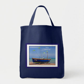 Father's Day Blue Boat Tote Bag