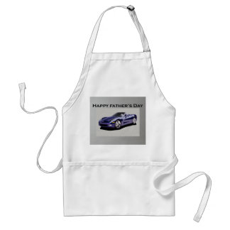 Father's Day Blue Convertible Sports Car Adult Apron