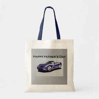 Father's Day Blue Convertible Sports Car Tote Bag