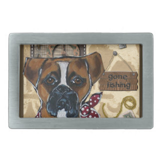 FATHER'S DAY BOXER DOG RECTANGULAR BELT BUCKLE