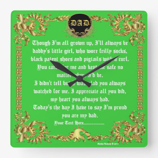 Fathers Day by Martha Valencia view about Design Square Wall Clock