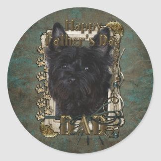 Fathers Day - Cairn Terrier - Rosco Round Sticker