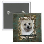 Fathers Day - Cairn Terrier - Teddy Bear Pinback Button