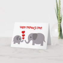 Father's Day Card Baby and Daddy elephant