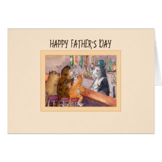 Father's Day card, cats at a bar having a drink Card