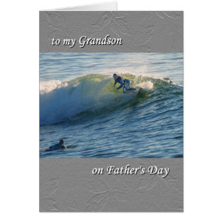 Father's Day card, for Grandson, Surfing Greeting Card