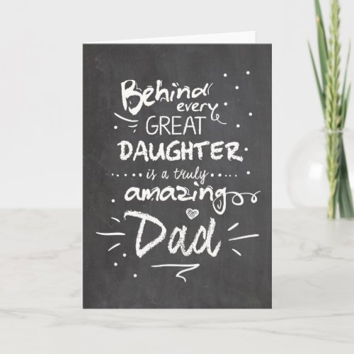 Fathers day card Quote Daughter Chalkboard