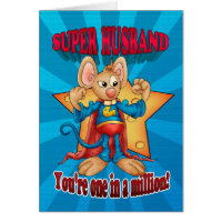Father's Day Card - Super Husband Mouse - One In A