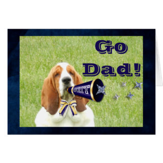 """Father's Day"" Card with Basset Hound Cheerleader"