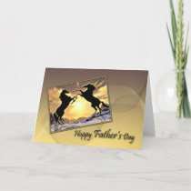 Father's Day card with rearing horses