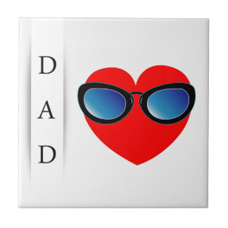 Fathers day card with red heart wearing goggles ceramic tile