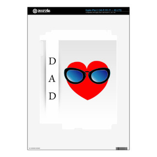 Fathers day card with red heart wearing goggles iPad 3 decal