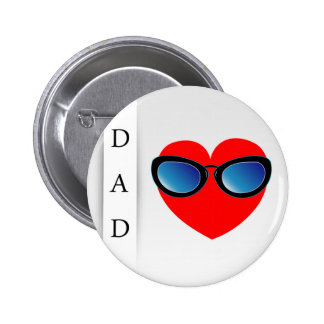 Fathers day card with red heart wearing goggles pinback button