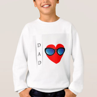 Fathers day card with red heart wearing goggles sweatshirt