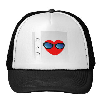 Fathers day card with red heart wearing goggles trucker hat