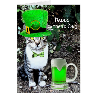 FATHER'S DAY CAT  WITH GREEN IRISH BEER CARD