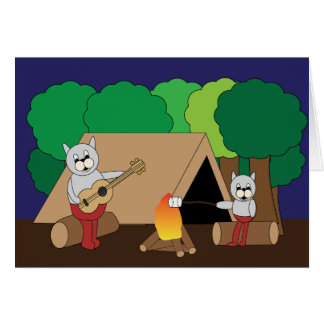 Fathers Day Cats Camping Greeting Card