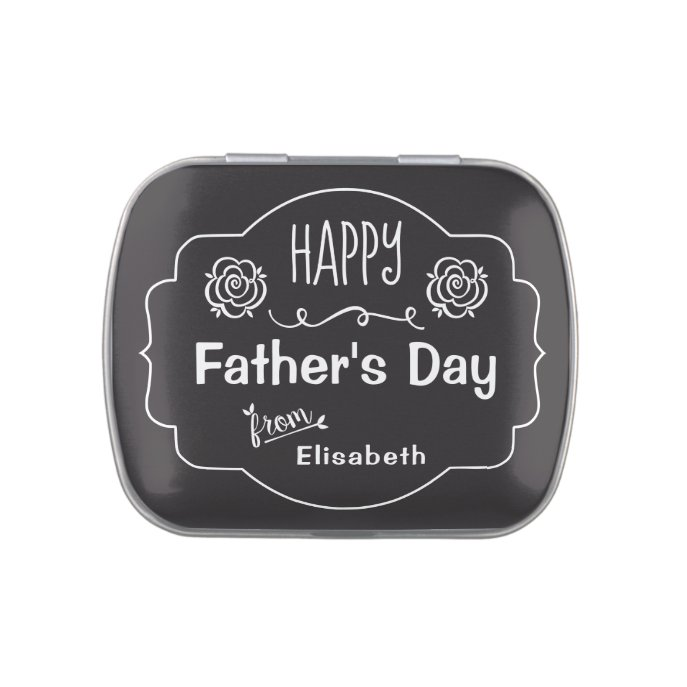 Father's Day Chic floral retro chalkboard CC0142 Candy Tin