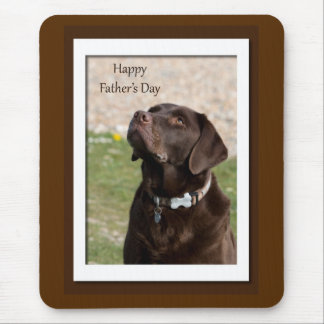 Father's Day Chocolate Brown Labrador Dog Mouse Pad