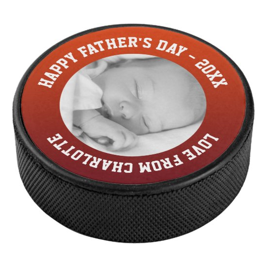 Fathers Day Custom Personalized Hockey Puck