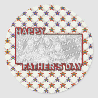 Fathers Day Cut Out ADD YOUR PHOTO Field of Stars Classic Round Sticker