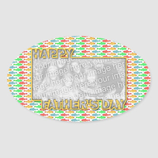 Fathers Day Cut Out ADD YOUR PHOTO Fish Oval Sticker