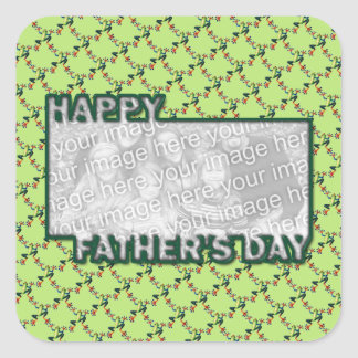 Fathers Day Cut Out ADD YOUR PHOTO Frogs Square Sticker