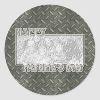 Fathers Day Cut Out ADD YOUR PHOTO Metal Grid Classic Round Sticker