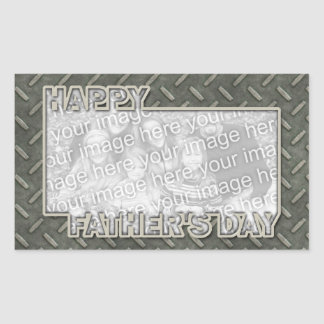 Fathers Day Cut Out ADD YOUR PHOTO Metal Grid Rectangular Sticker