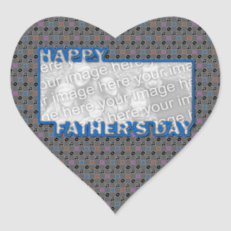 Fathers Day Cut Out ADD YOUR PHOTO Music Heart Sticker