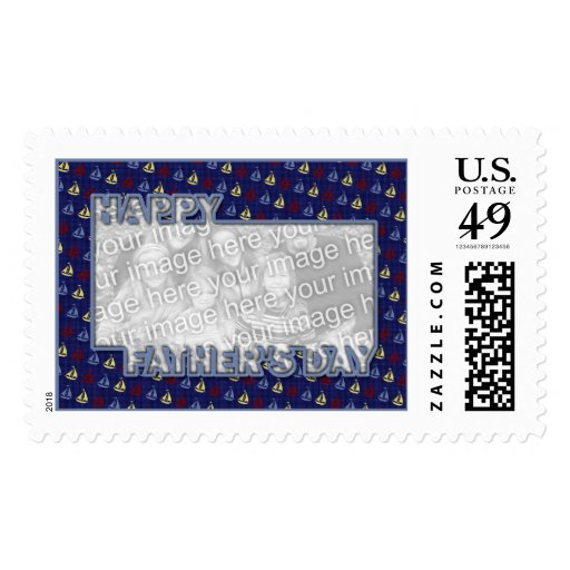 Fathers Day Cut Out ADD YOUR PHOTO Sailboats Postage Stamps