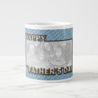 Fathers Day CutOut ADD YOUR PHOTO Polka Dot Father Large Coffee Mug