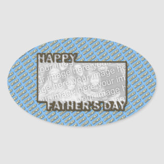 Fathers Day CutOut ADD YOUR PHOTO Polka Dot Father Oval Sticker