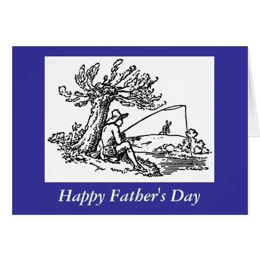 Fathers day dad fishing in river greeting card zazzle for Father s day fishing card