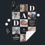 """Father's Day Dad Photo Collage Golf Towel<br><div class=""""desc"""">Custom fathers day gift golf towel featuring a black background that can be changed to any color,  7 square photos of the family,  golf clubs,  a golf ball featuring their name and initial,  2 cute dad captions,  and the childrens names.</div>"""