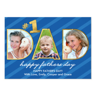 Fathers Day DAD Photos with Blue Stripes Card