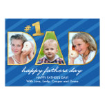 Fathers Day DAD Photos with Blue Stripes 5x7 Paper Invitation Card