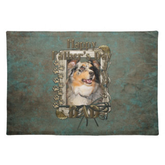 Fathers Day DAD - Stone Paws - Australian Shepherd Cloth Placemat