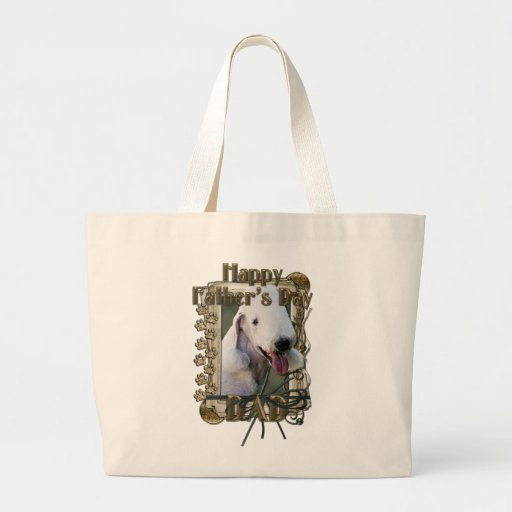 Fathers Day DAD - Stone Paws - Bedlington Terrier Jumbo Tote Bag