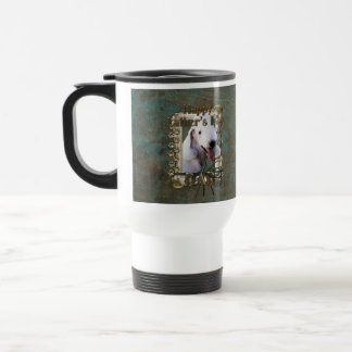 Fathers Day DAD - Stone Paws - Bedlington Terrier 15 Oz Stainless Steel Travel Mug