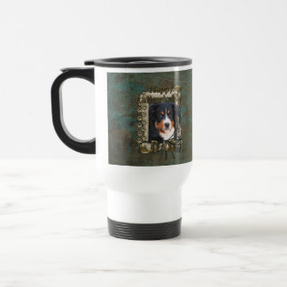 Fathers Day DAD Stone Paws - Bernese Mountain Dog 15 Oz Stainless Steel Travel Mug