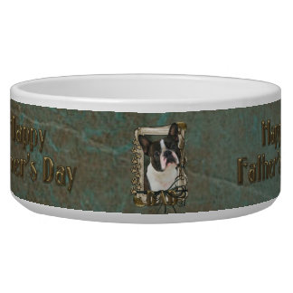 Fathers Day DAD - Stone Paws - Boston Terrier Bowl