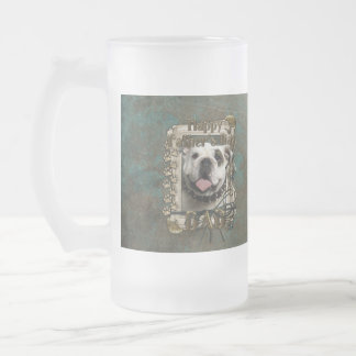 Fathers Day DAD - Stone Paws - Bulldog Frosted Glass Beer Mug