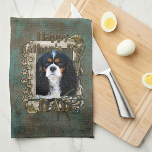 Fathers Day DAD- Stone Paws - Cavalier - Tri Color Hand Towels