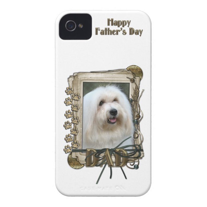 Fathers Day DAD - Stone Paws - Coton de Tulear Case-Mate iPhone 4 Case